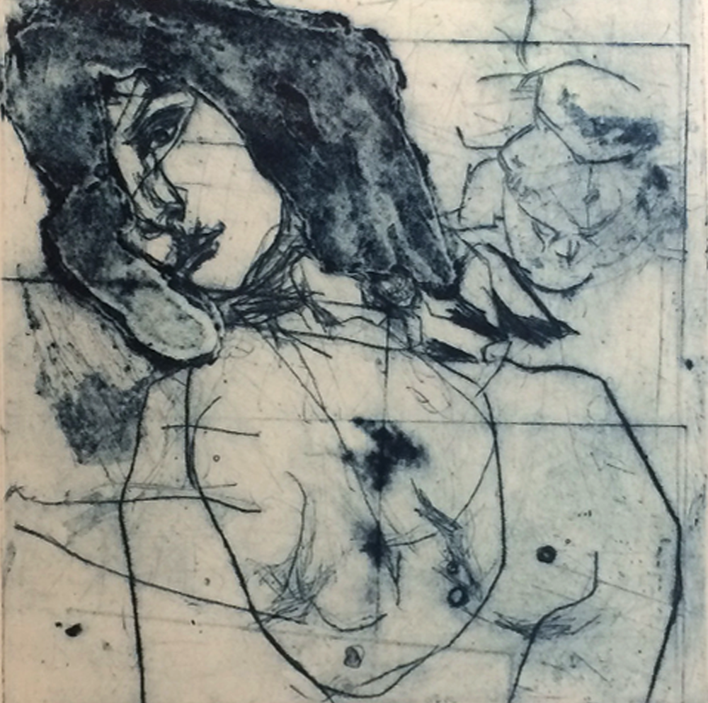 Artist: Victoria Kiff  Title: The Bite  Medium: Drypoint collagraph  Size: 23 x 23 cm  Price: £400