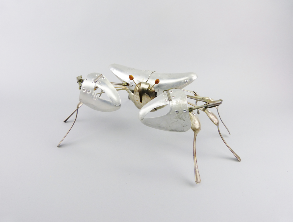 Artist: Dean Patman  Title: Crab  Medium: Mixed media and cutlery  Size: 48 x 20 cm  Price: SOLD