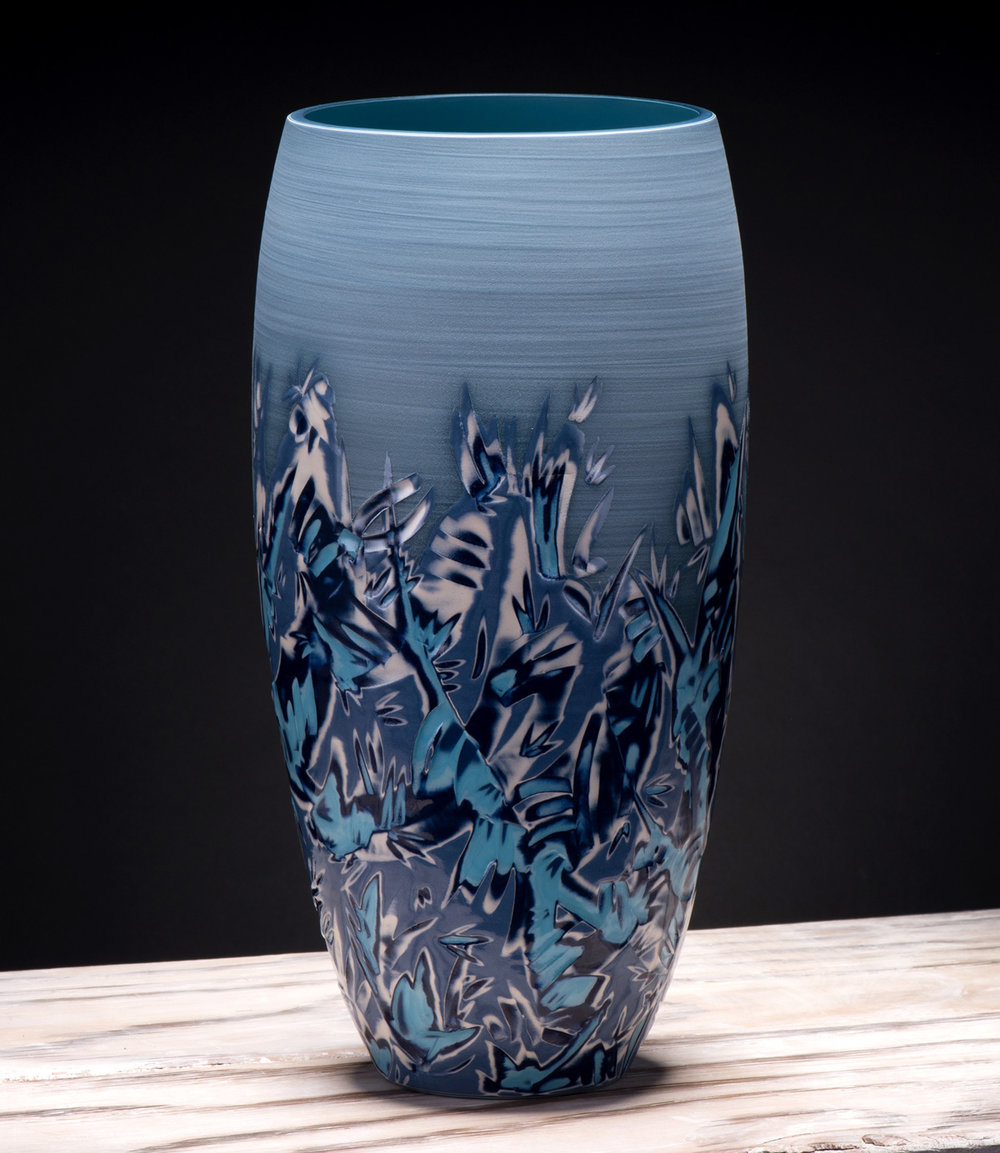 Title: Curved Vase Large - Coast Series 2 Size: H 37cm x W 17cm x D 17cm Medium: Ceramic