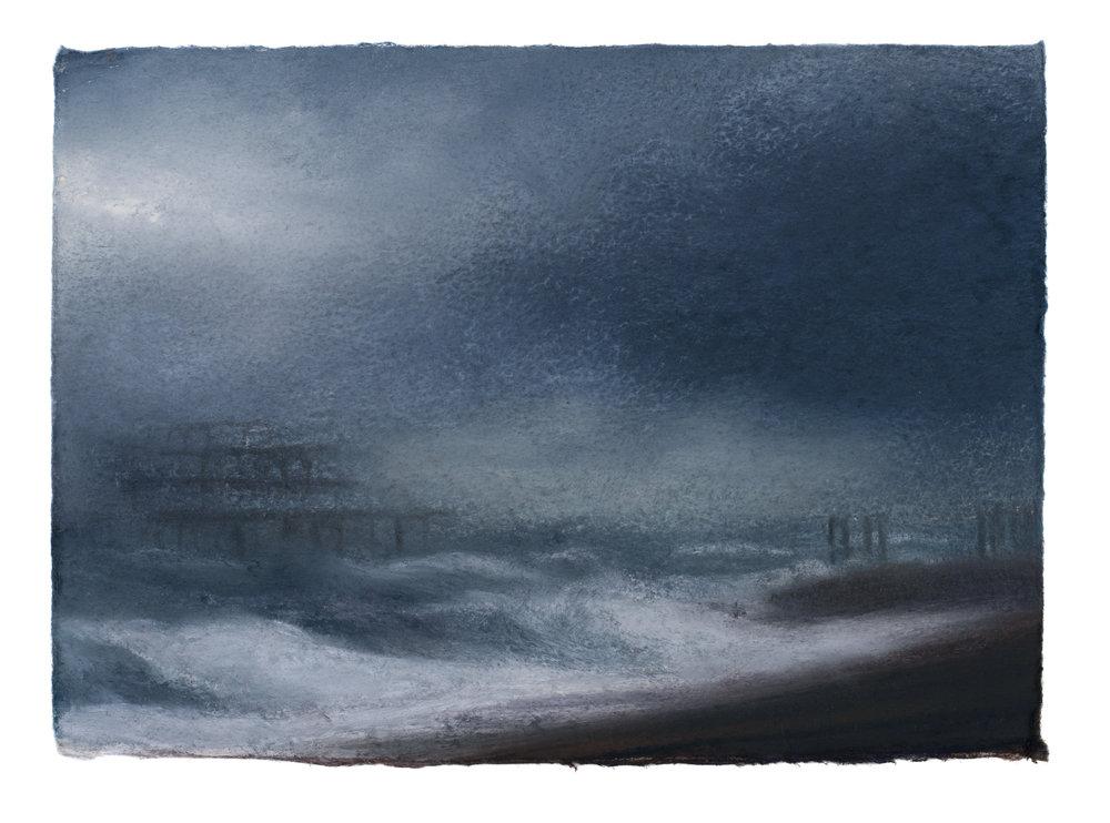 Artist: Matthew Draper  Title: Two Piers, A Study of Brighton Seafront  Size: 15 x 21 cm  Medium: Pastel on paper  Price: £525