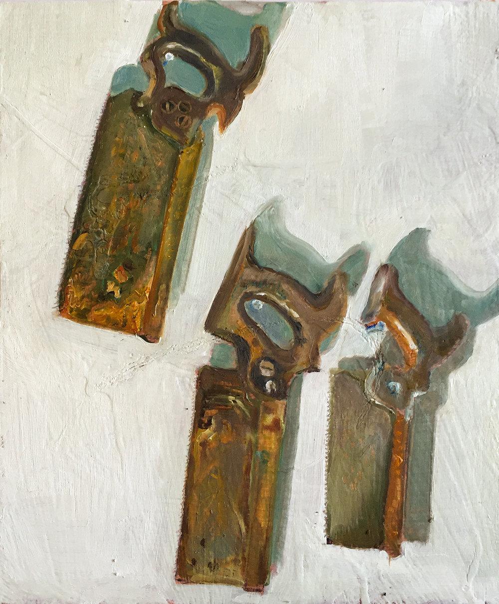 Artist: Tori Day  Title: The Old Workshop  Size: 32.5 x 27.5 cm  Medium: Oil on panel  Price: £550