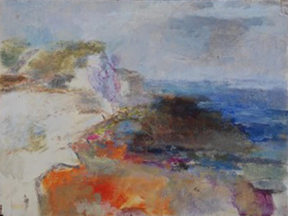 Artist: Anja Niedring  Title: Low Tide, Saltdean Cliffs  Size: 26.5 x 34.5 cm  Medium: Oil on board  Price: £550