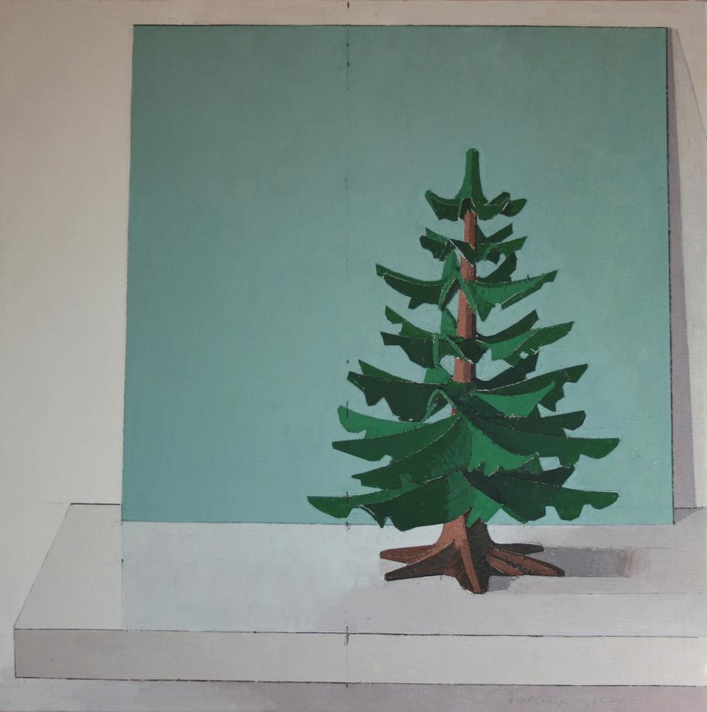 Artist: Russell Dorey  Title: Playmobil Fir Tree  Size: 40 x 40 cm  Medium: Oil on canvas  Price: £1400