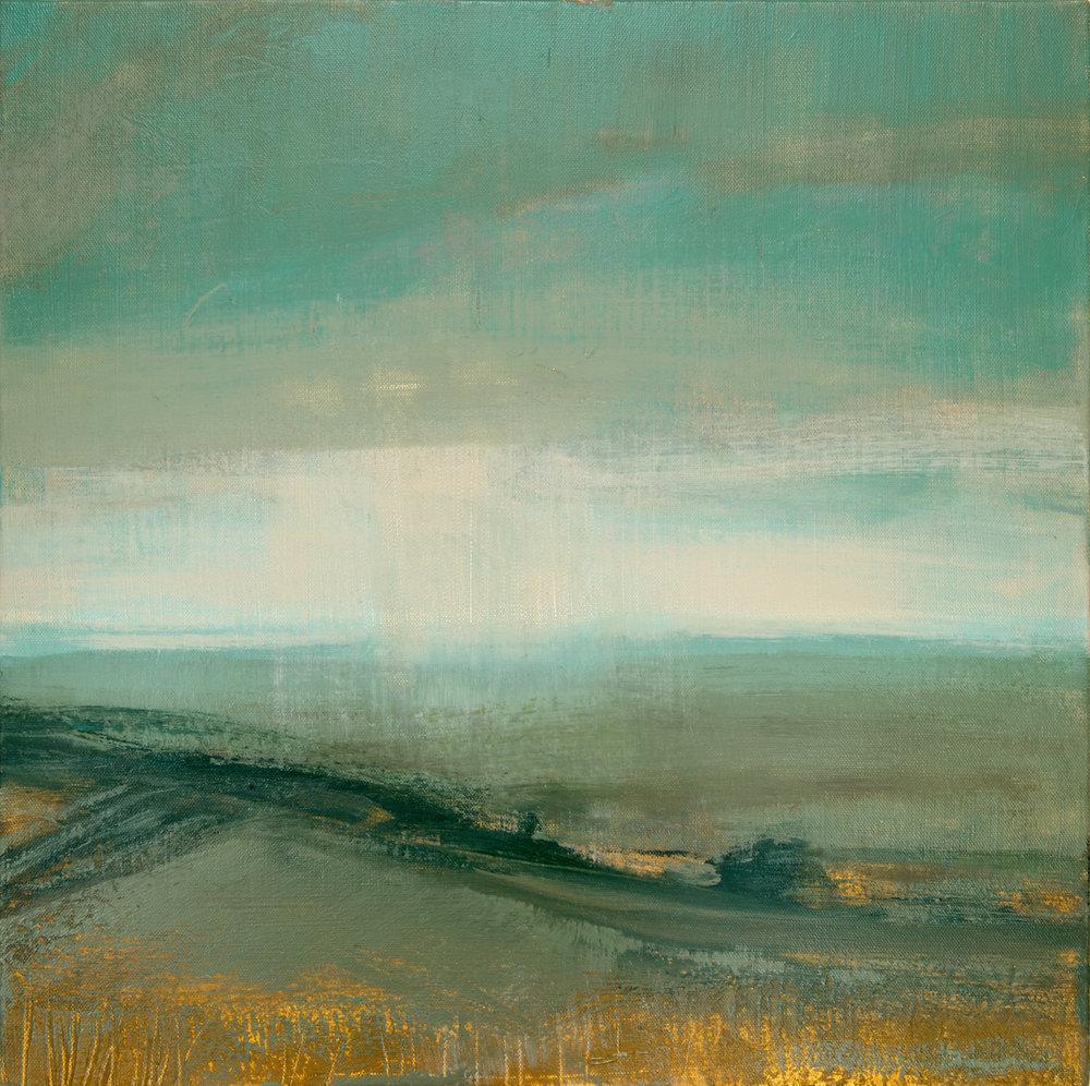 Artist: David Scott Moore  Title: Landscape - Turquoise  Size: 50 x 50 cm  Medium: Oil on canvas  Price: £1800