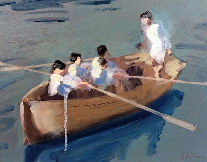 Artist: David Storey  Title: Ship of Dreams (study)  Size: 30 x 40 cm  Medium: Oil and acrylic on canvas  Price: £1100