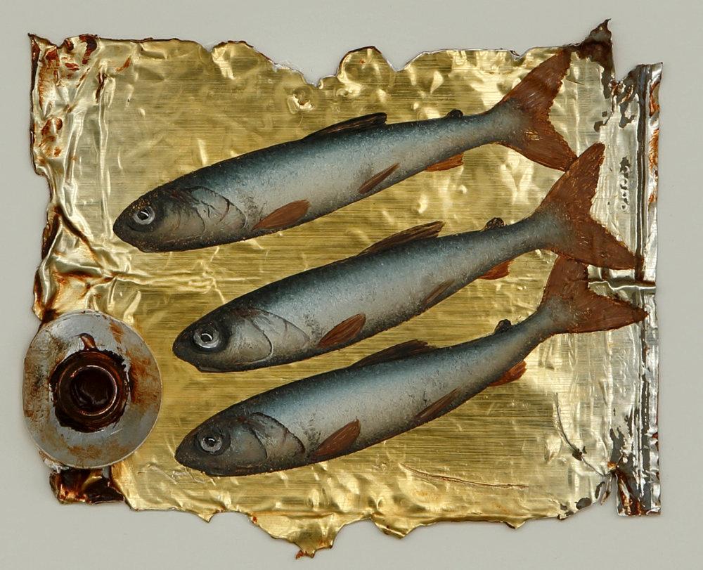 Artist: Donald Provan  Title: Burnt Sienna Trio  Size: 8 x 10.5 cm  Medium: Oil on paint tube  Price: £650
