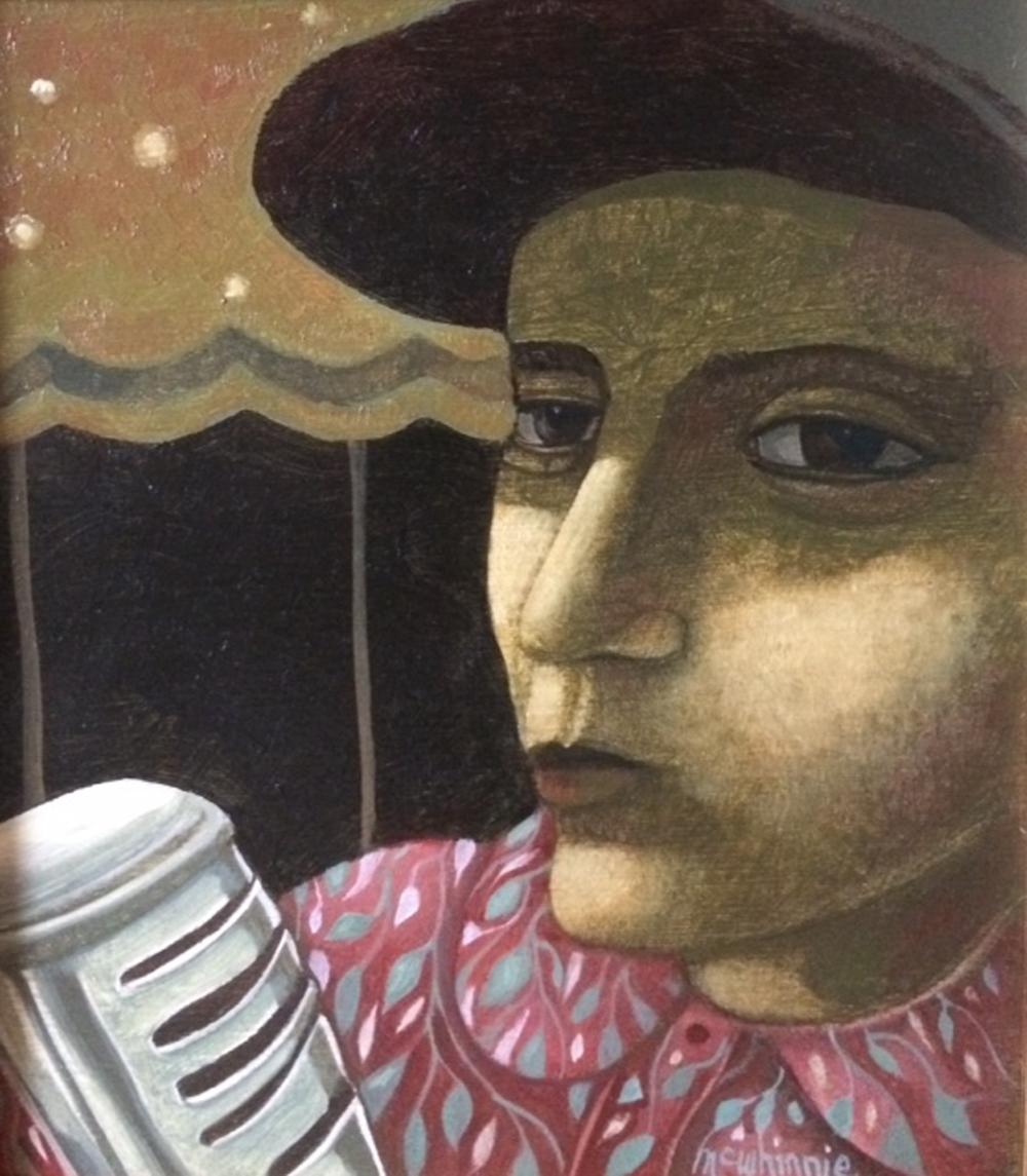 Artist: Ian McWhinnie  Title: On Vocals  Size: 20 x 18 cm  Medium: Oil on panel   Price: £600