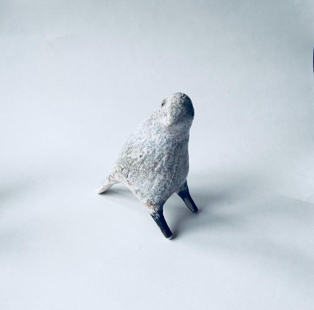 Artist: Julie Nelson  Title: Small Ponti Bird - Snow Bird, Gold Legs  Size: H 13cm x W 6cm x L 13cm  Medium: Ceramic  Price: £175