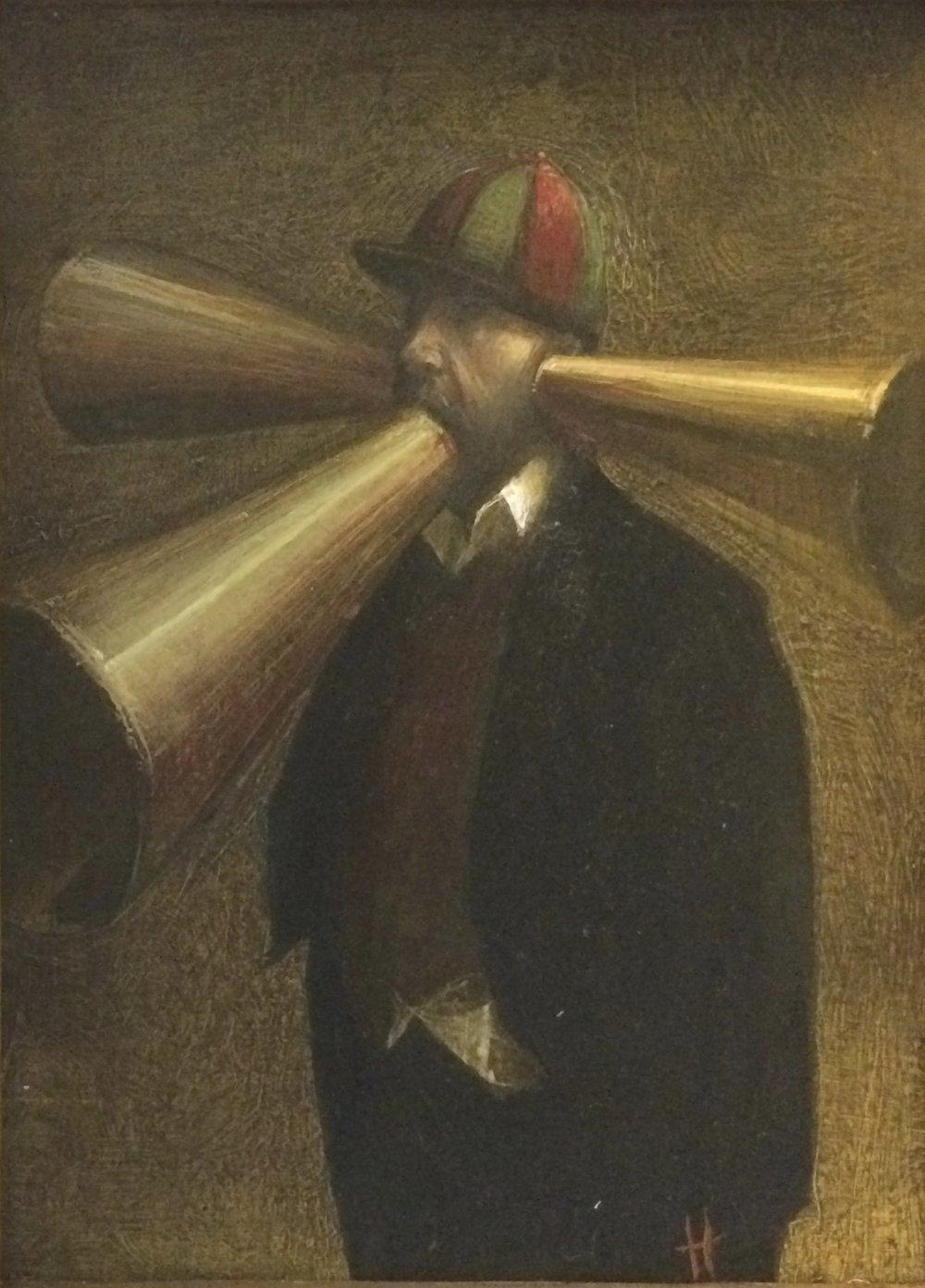 Artist: Kevin Hendley  Title: Soundwaves  Size: 20 x 15 cm  Medium: Oil on panel  Price: £1450