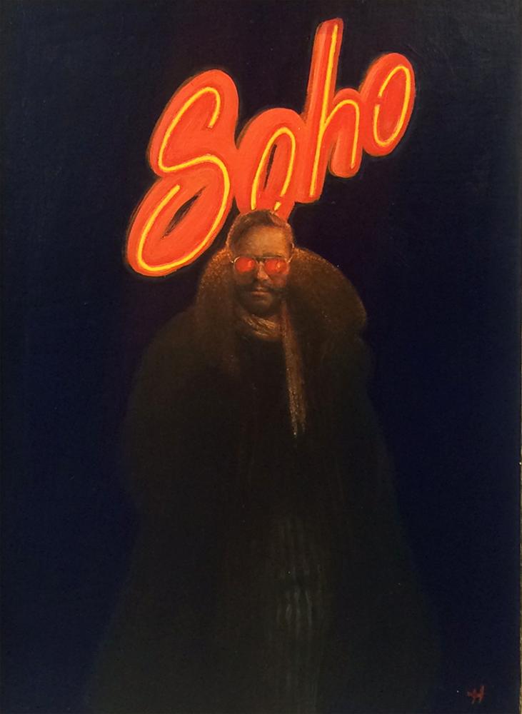 Artist: Kevin Hendley  Title: Soho  Size: 45 x 31 cm  Medium: Oil on panel  Price: £3200