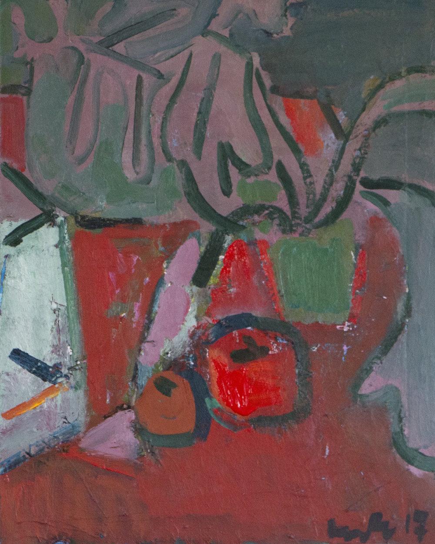 Artist: Luke Hannam  Title: Two Red Apples  Size: 61 x 51 cm  Medium: Oil on canvas  Price: £1400