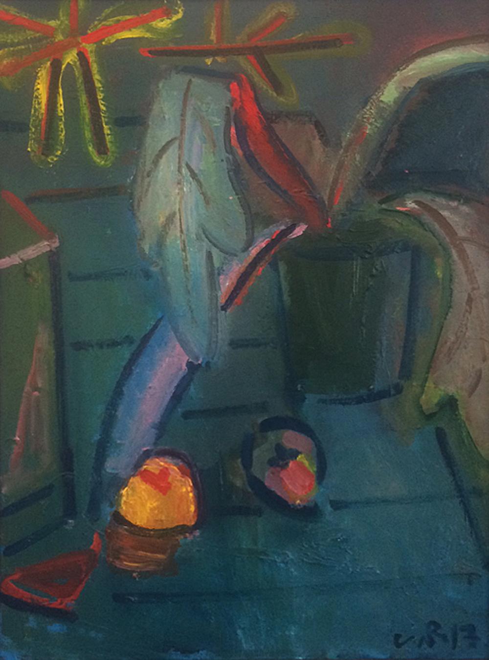 Artist: Luke Hannam  Title: Blue Garden Table  Size: 101 x 75 cm  Medium: Oil on canvas  Price: £1900