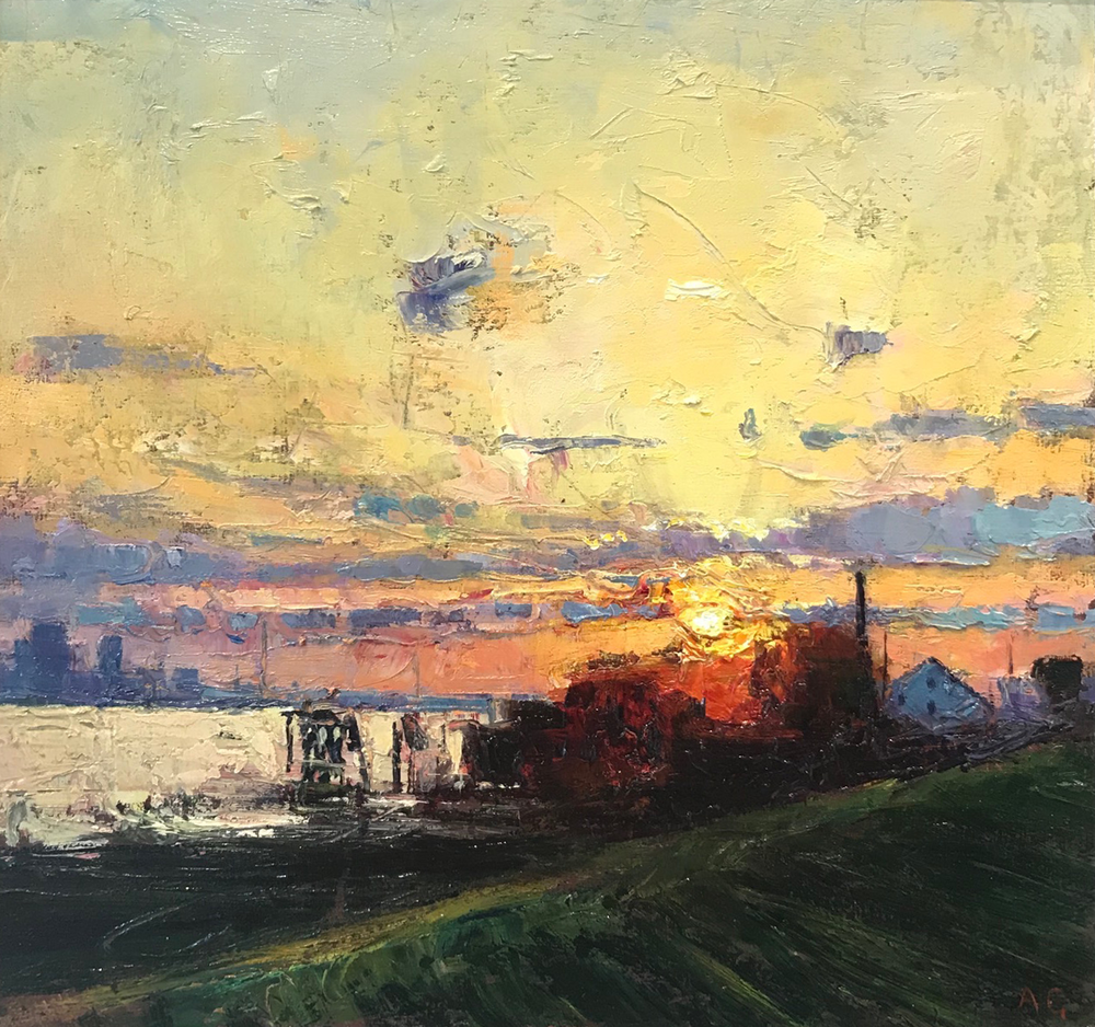 New Orleans From The Levee Sunset.png