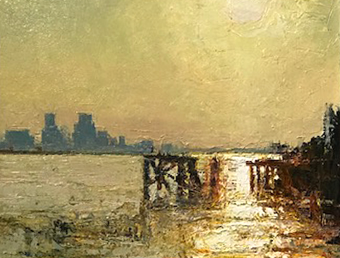 Artist: Andrew Gifford  Title: Across The Mississippi Towards New Orleans  Size: 28 x 35.5 cm  Medium: Oil on panel  Price: £7400
