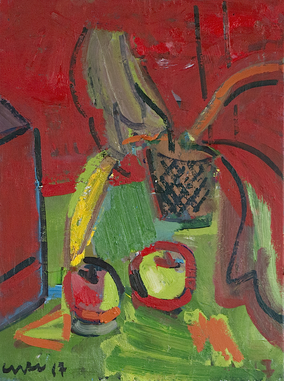 Artist: Luke Hannam  Title: Red Still Life  Size: 80 x 40 cm  Medium: Oil on canvas  Price: SOLD