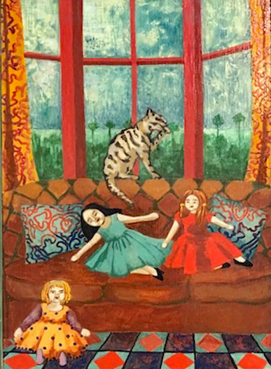 Artist: Kate Montgomery  Title: Cats and 3 Dolls  Size: 43 x 37 cm  Medium: Archival ink and wash  Price: £600