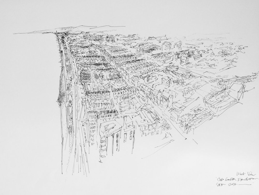 Title: i360 and West Hove Seascape Size: 66 x 90cm Medium: pencil and inkpen