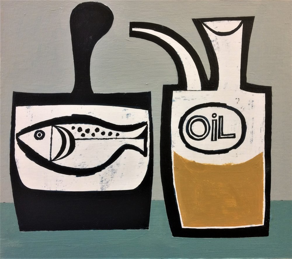 Title: Oily Fish Size: 23 x 25 cm Medium: Acrylic on board SOLD