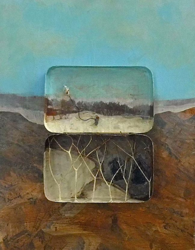 Title: Kite Flying in the Snow Size: 24 x 18 cm Medium: Acrylic and collage and vintage tin