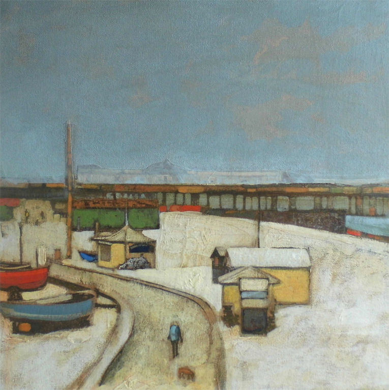 Title: Snow-bound Size: 40 x 40 cm Medium:Acrylic and collage on canvas SOLD