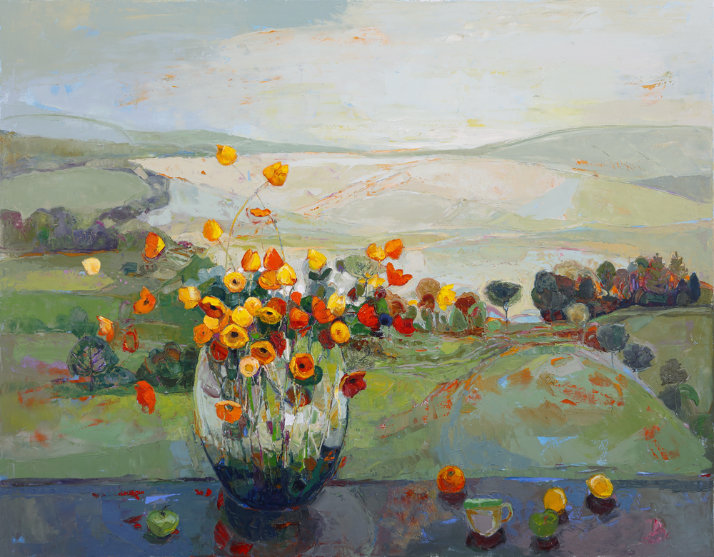 Title: Hilltop Terrace Size: 112 x 142 cm Medium: Oil on canvas  SOLD
