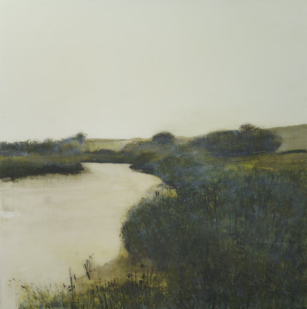 Title: Banks of the River Arun Size: 60 x 60 cm Medium: Acrylic and epoxy resin on canvas