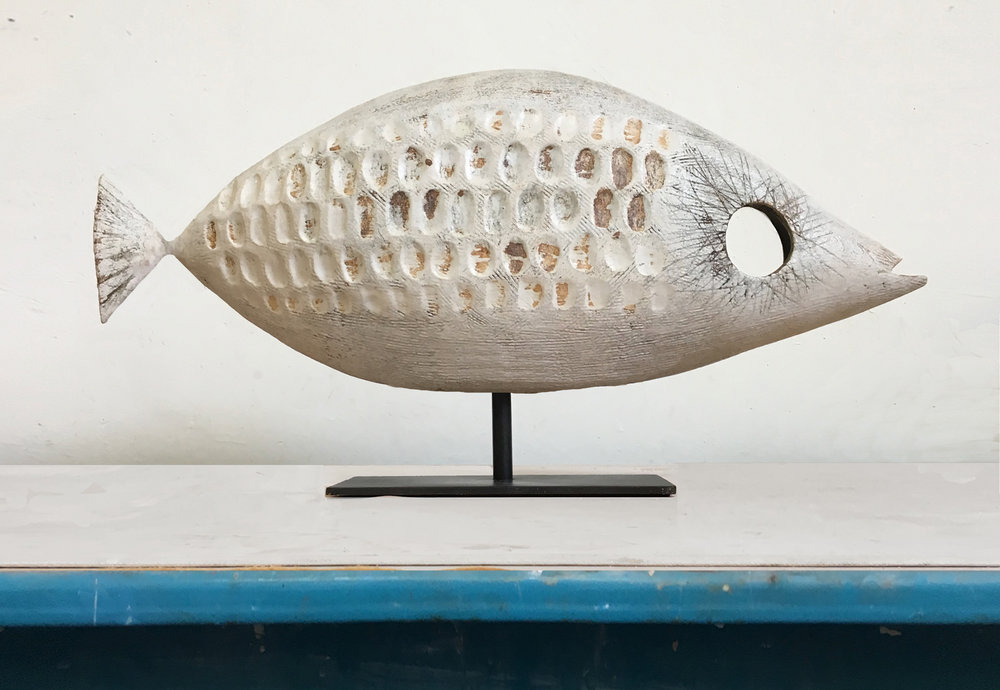 Title: Coral Fish Size: H 33 x L 46 x D 17 cm Medium: Stoneware ceramic with painted steel mount