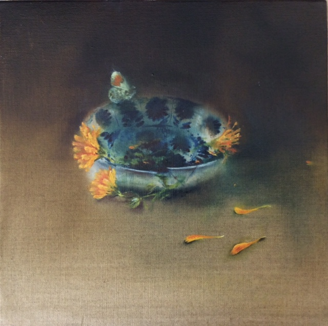 Artist: Linda Felcey  Title: Orange Tip  Size: 25 x 25 cm  Medium: Oil on linen  Price: £640