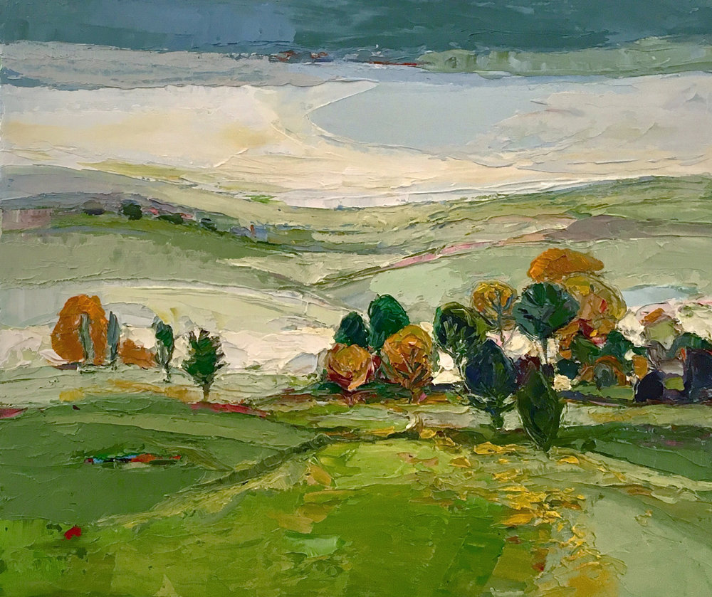 Artist: Kirsty Wither  Title: Round Here  Size: 25 x 30 cm  Medium: Oil on canvas  Price: £1500