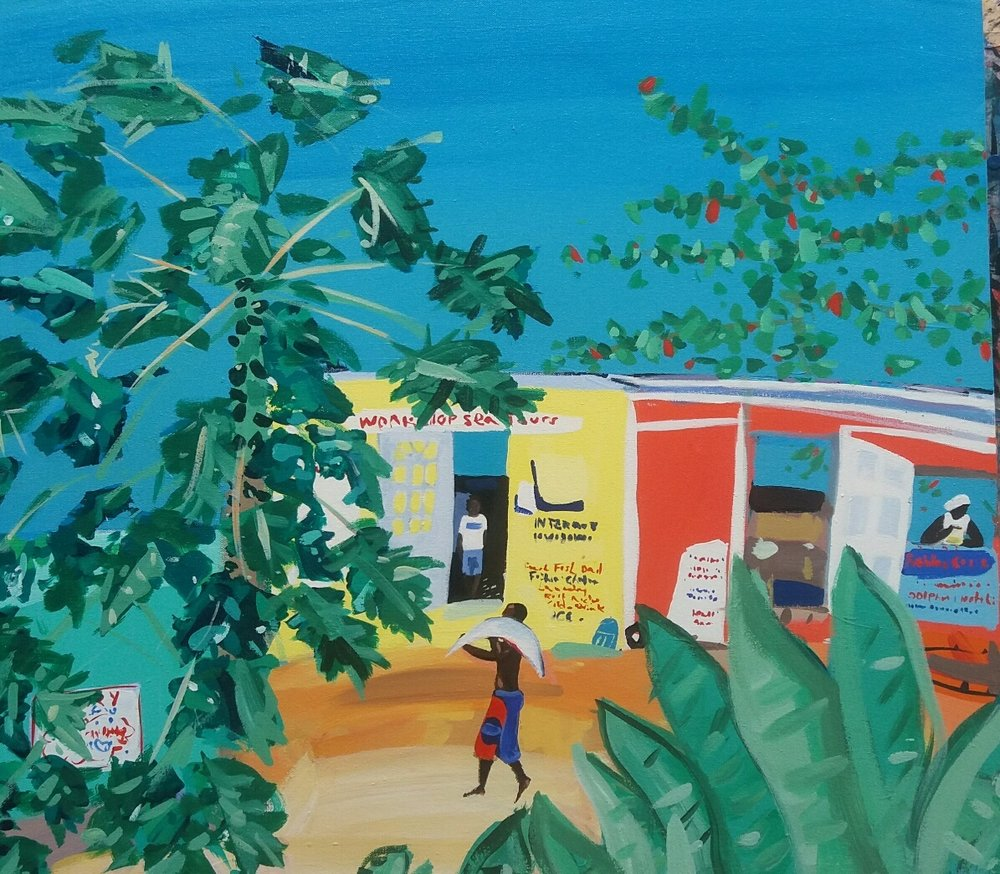 Artist: Pippa Cunningham  Title: Catch of the Day, Tobago  Size: 61 x 69 cm  Medium: Acrylic on Canvas  Price: £1350