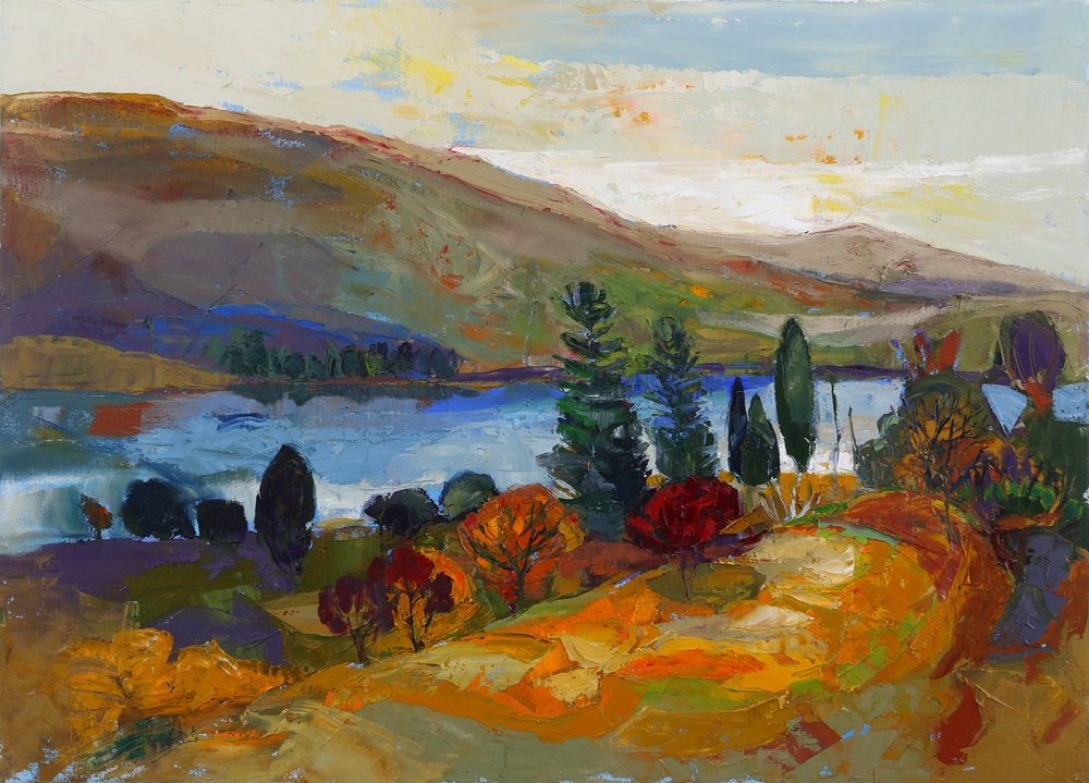 Artist: Kirsty Wither  Title: Shore and Loch  Size: 56 x 82 cm  Medium: Oil on canvas  Price: £4500