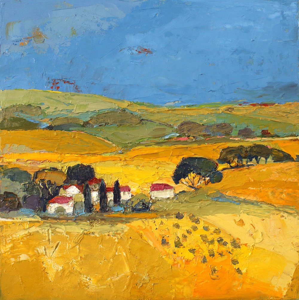 Artist: Kirsty Wither  Title: Hay and Haze  Size: 30 x 30 cm  Medium: Oil on canvas  Price: SOLD