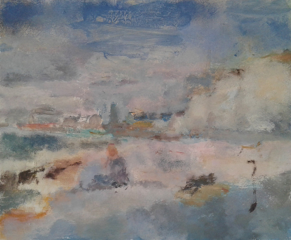Artist: Anja Niedring  Title: Ovingdean (getting cold)  Size: 25 x 31 cm  Medium: Oil on panel  Price: £525