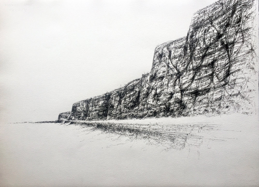 Artist: Solange Leon Iriarte  Title: White Chalk, Borrowed Gravity  Size: 57 x 76 cm  Medium: Ink on Arches watercolour paper  Price: £1550