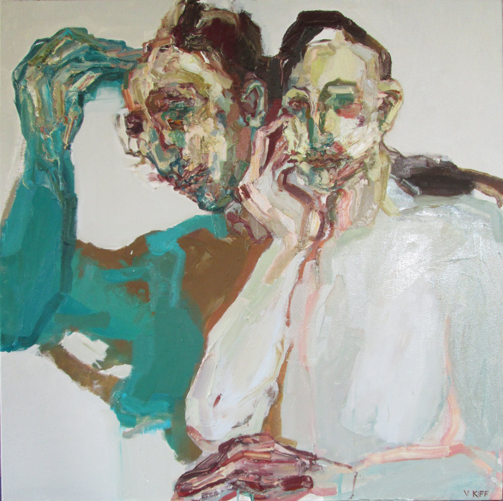 Title: Two Observers  Size: 83 x 84 cm  Medium: Oil on canvas  SOLD