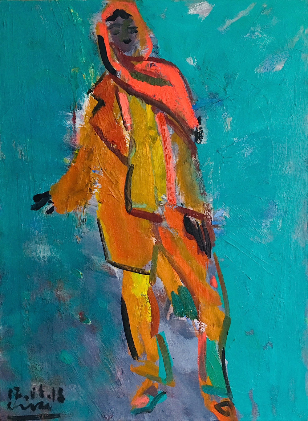 Title: Mimi in her Silk Scarf  Size: 61 x 46 cm  Medium: Oil on canvas  Price: RESERVED