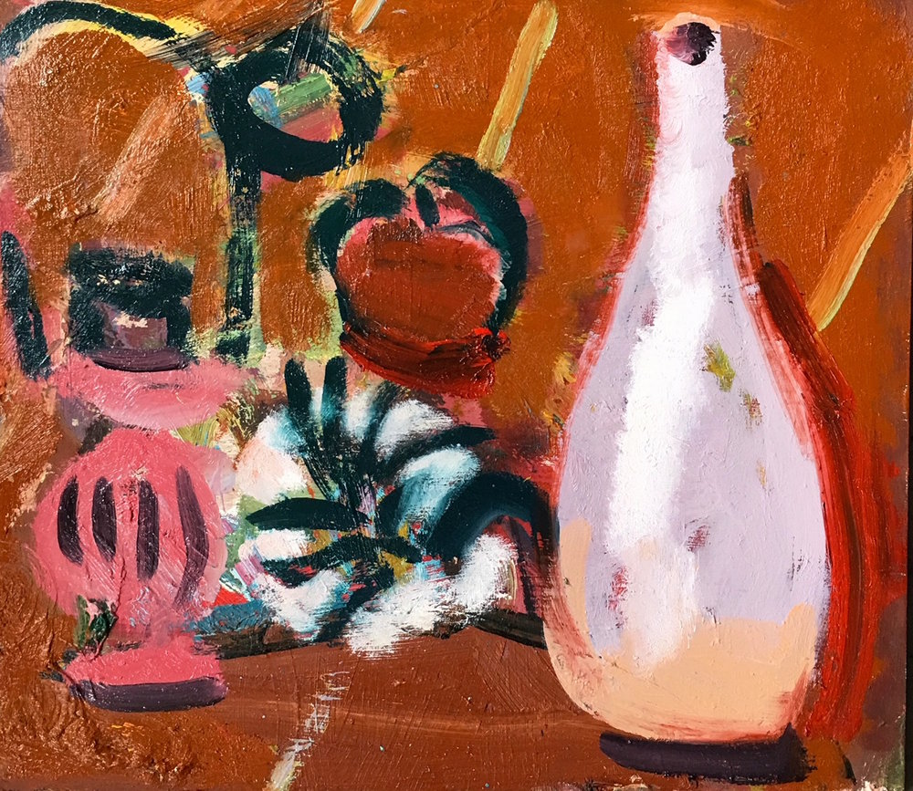 Title: Still Life II  Medium: Oil on board  Size: 30 x 33 cm  Price: £825