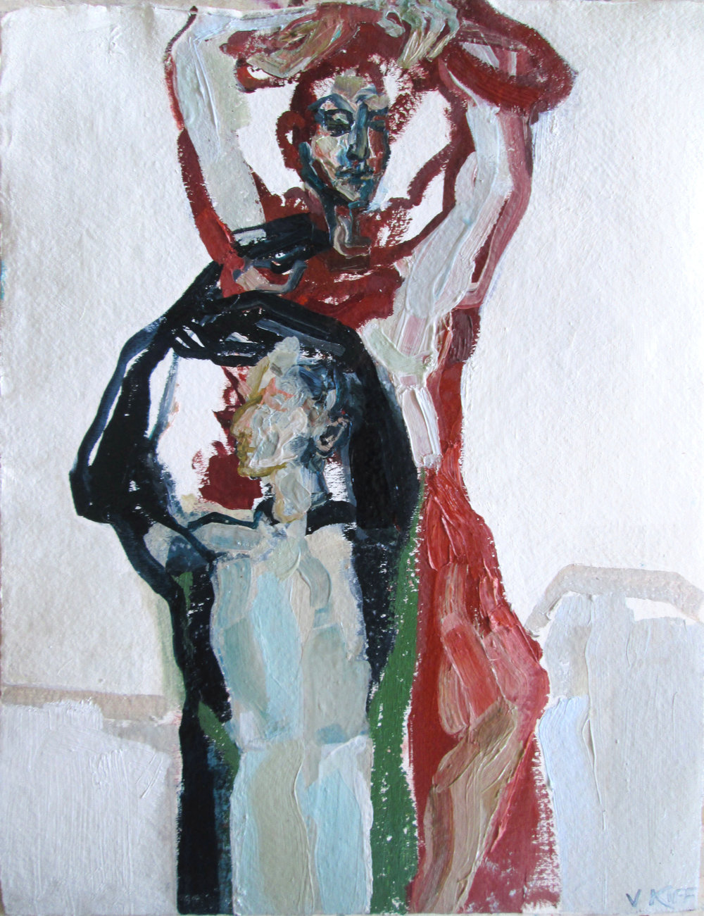 Title: Angled Stems  Size: 47 x 39 cm  Medium: Oil on paper  SOLD