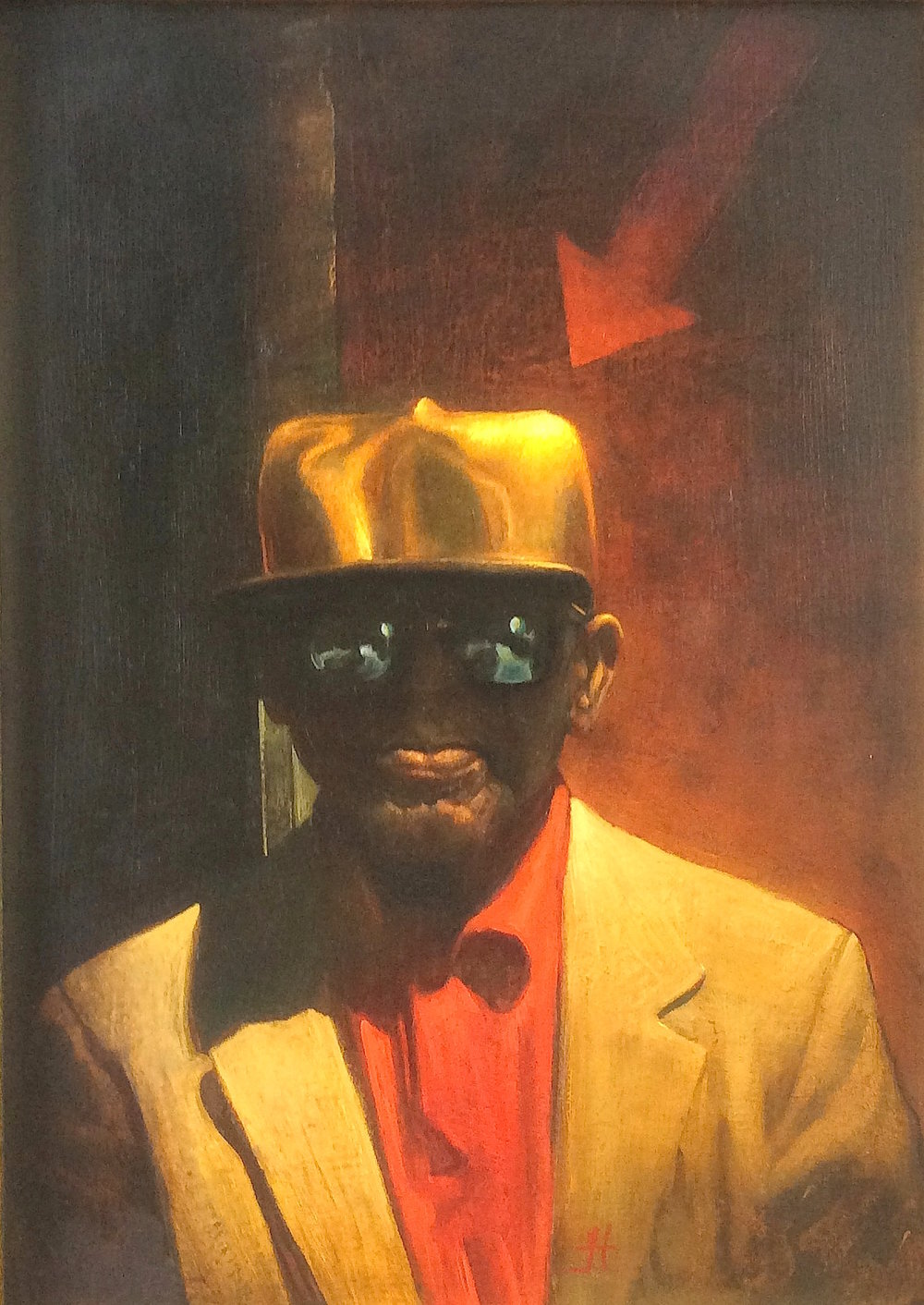 Title: Man with the Golden Hat  Size: 37 x 26 cm  Medium: Oil on panel  Price: £2,450