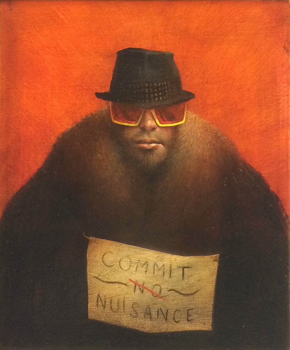 Title: Commit Nuisance  Size: 35.5 x 29.5 cm  Medium: Oil on panel  Price: £2,800
