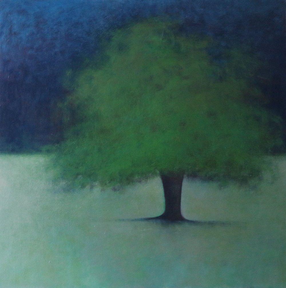 Artist: Claire Beattie  Title: Midsummer Verdigris  Size: 70 x 70 cm  Medium: Oil on canvas  Price: £750   Buy Now