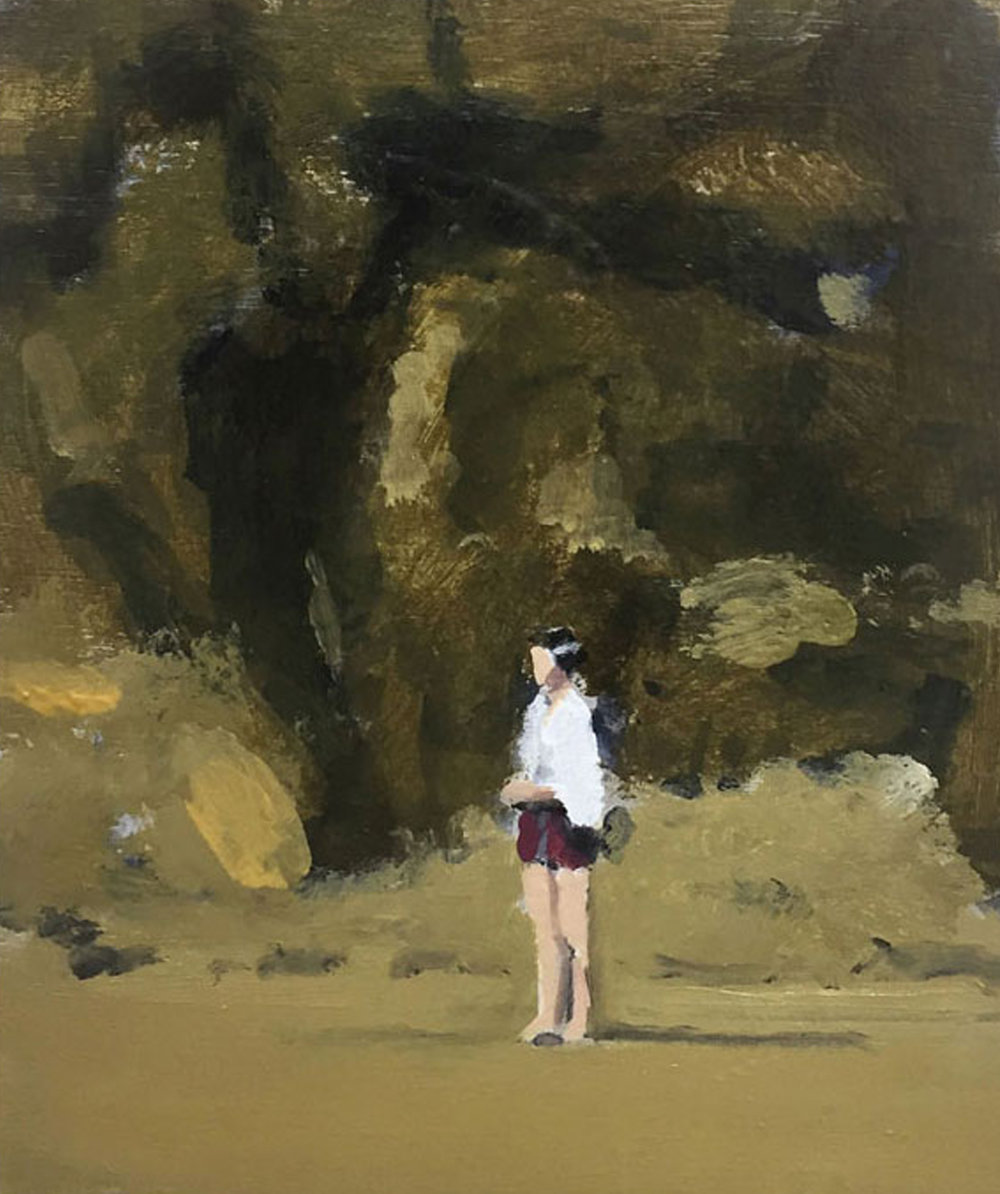 Artist: David Storey  Title: Young Woman Standing by a Cliff  Size: 13 x 10 cm  Medium: Egg tempera and oil on panel  SOLD
