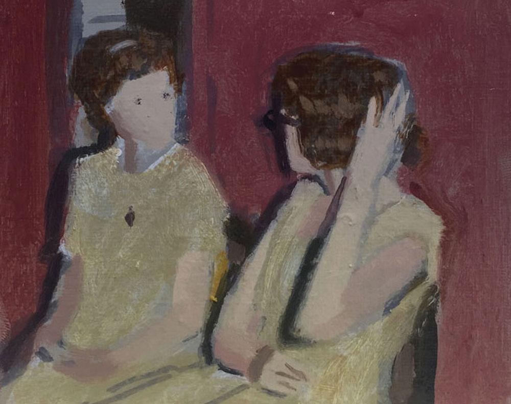 Artist: David Storey  Title: Two Women Talking  Size: 10 x 13 cm  Medium: Egg tempera and oil on panel  SOLD
