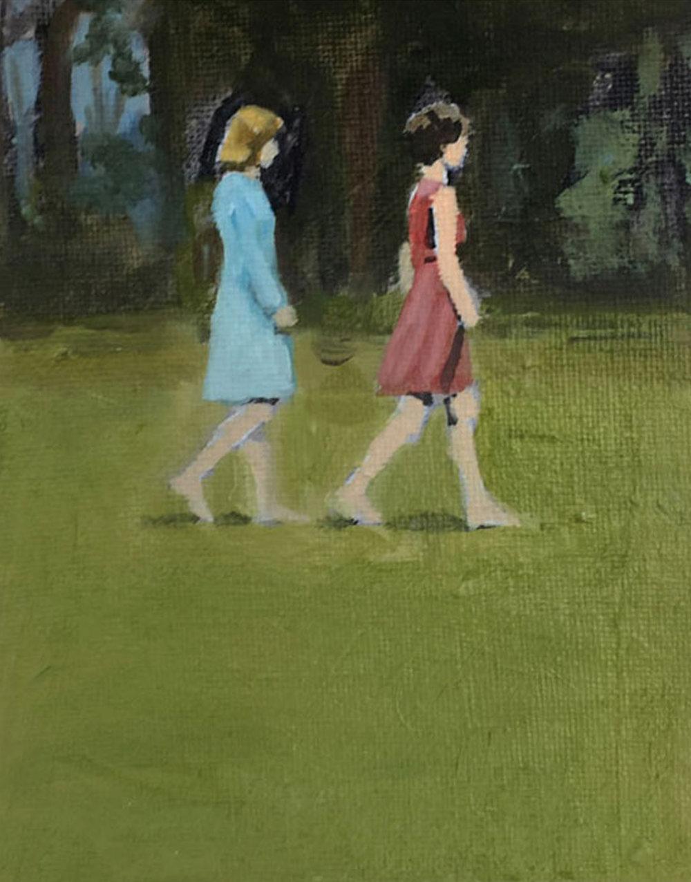 Artist: David Storey  Title: Two Women Walking  Size: 10 x 13 cm  Medium: Egg tempera and oil on panel  SOLD