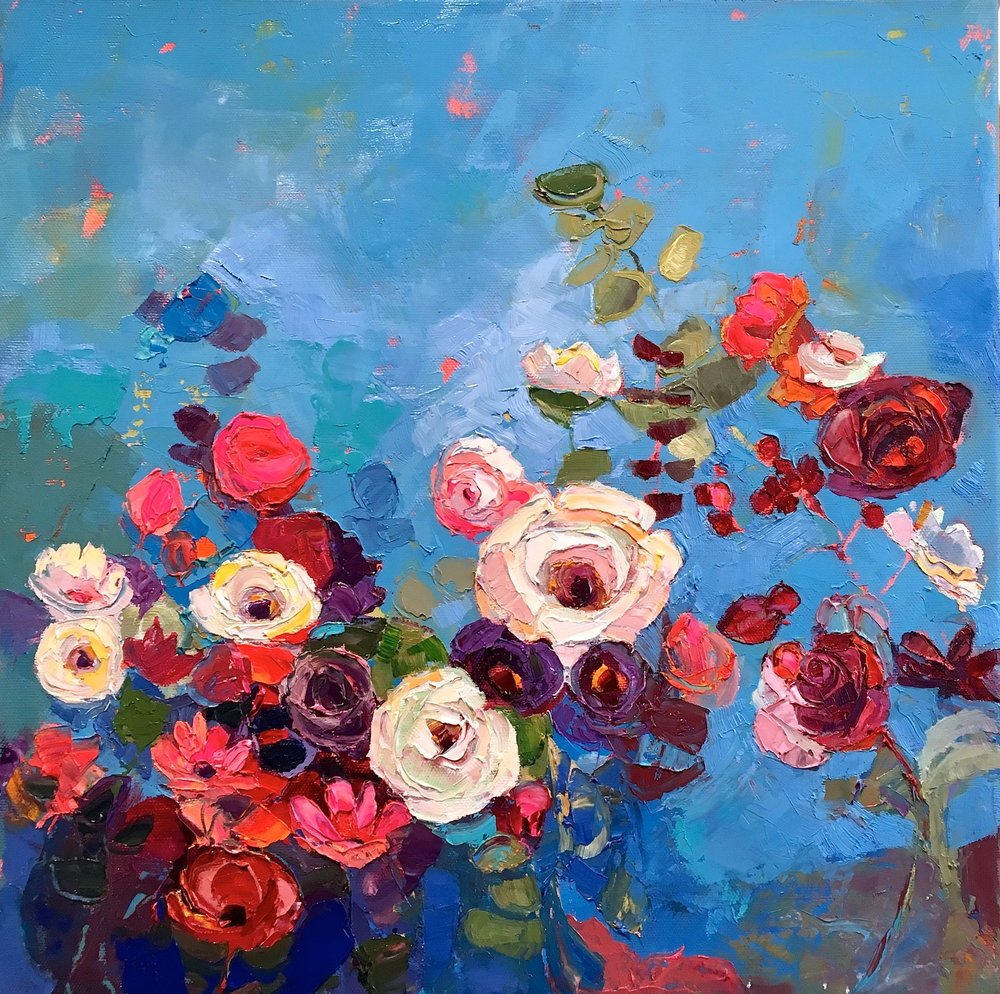 Artist: Kirsty Wither  Title: In the Blue Square  Size: 40 x 40 cm  Medium: Oil on canvas  SOLD