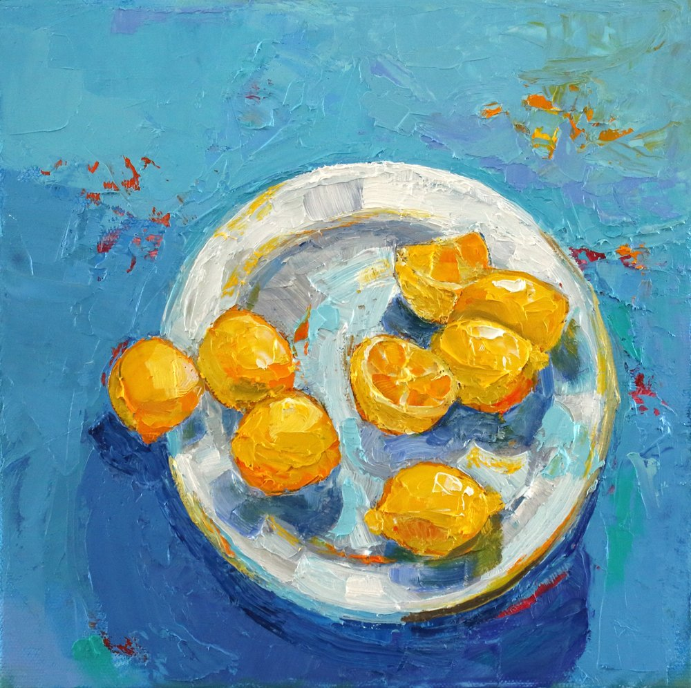 Artist: Kirsty Wither  Title: Seven Lemons  Size: 25 x 25 cm  Medium: Oil on canvas  SOLD