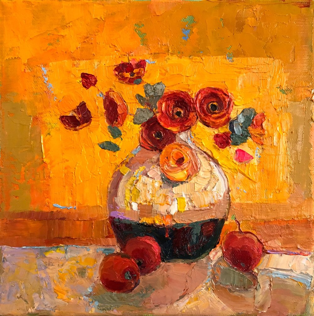 Artist: Kirsty Wither  Title: Hot Spot  Size: 20 x 20 cm  Medium: Oil on canvas  SOLD