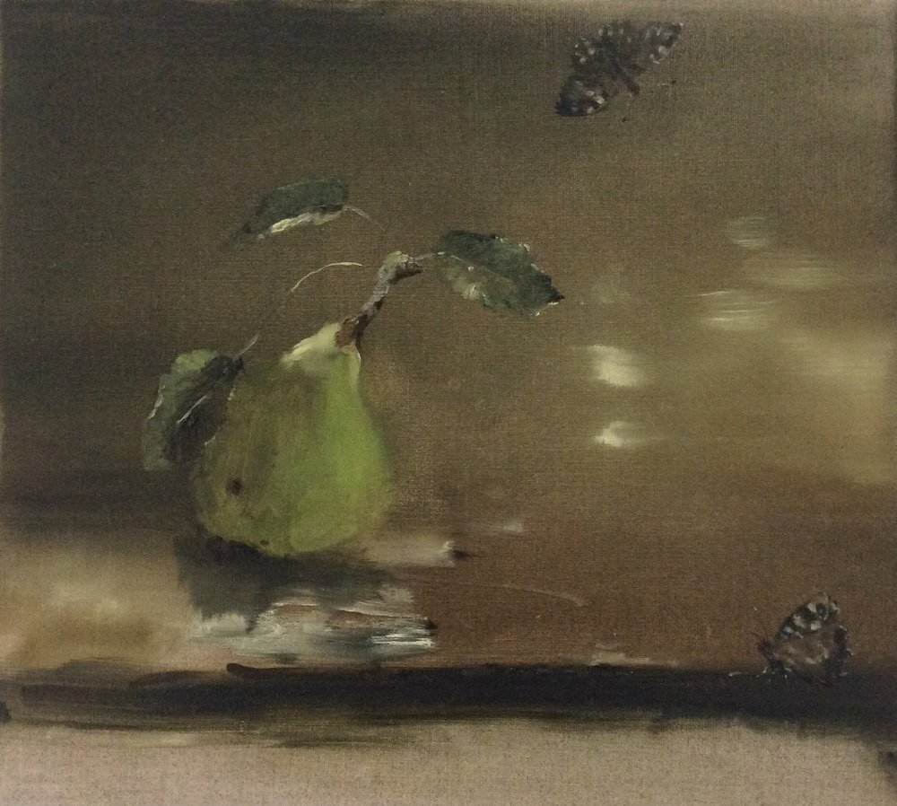 Artist: Linda Felcey  Title: Specked Wood II  Size: 25 x 24 cm  Medium: Oil on linen  Price: £520   Buy Now