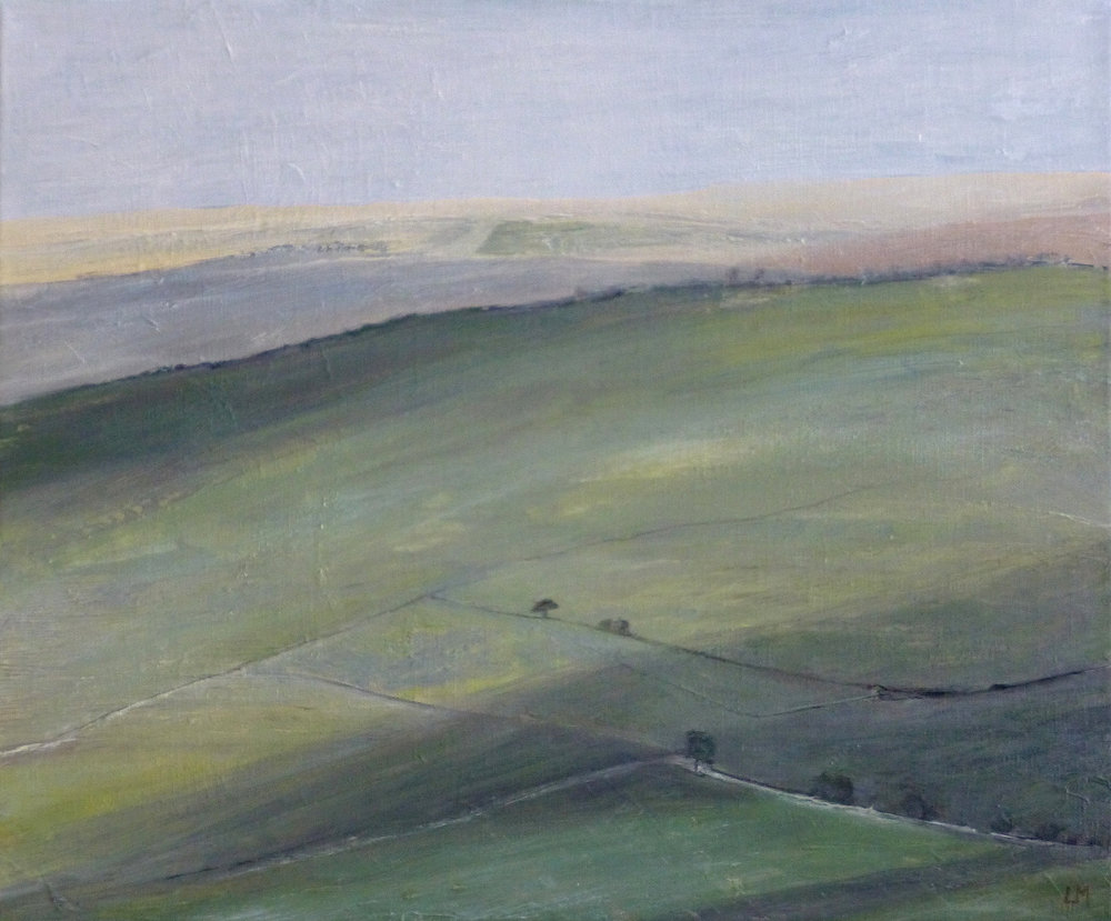 Artist: Luella Martin  Title: Downlands with Cloud Shadows  Size: 38 x 46 cm  Medium: Oil on linen  Price: £950   Buy Now