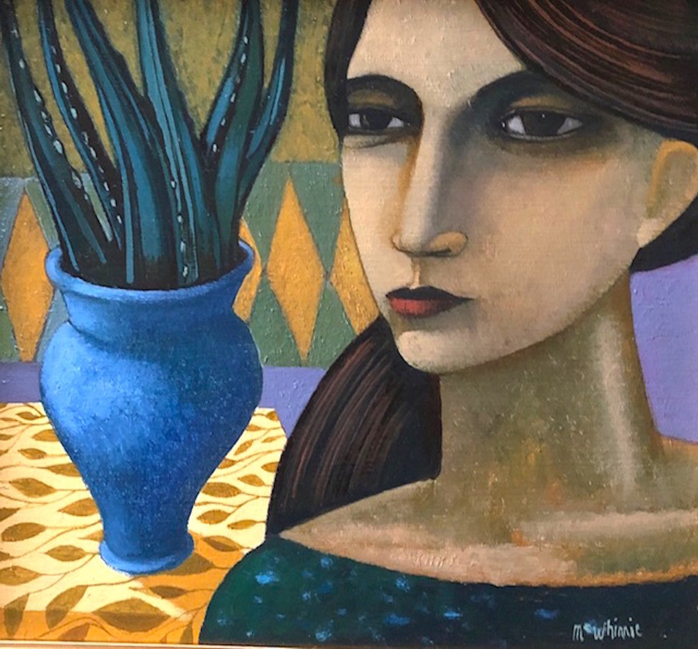 Ian McWhinnie  Title: The Blue Vase  Size: 23 x 25 cm  Medium: Oil on board  SOLD